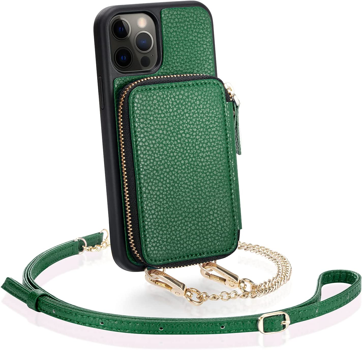 ZVE Crossbody Wallet Case for iPhone 12 Pro/12 (6.1 inch) with Card Holder, Zipper Phone Case Purse with Wrist Strap Cover Gift for Women Girl Compatible with iPhone 12 Pro/12, 6.1 inch-Dark Green