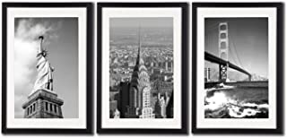 New York City NYC Skyline Skyscraper Canvas Print Wall Art Decor Framed Posters 3 Piece Black And White City Landmark Architecture Paintings Golden Gate Bridge Statue Of Liberty Building Picture