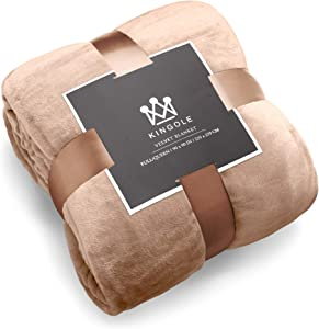 Kingole Flannel Fleece Microfiber Throw Blanket, Luxury Brown Twin Size Lightweight Cozy Couch Bed Super Soft and Warm Plush Solid Color 350GSM (66 x 90 inches)