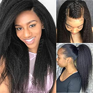 Glueless 360 Lace Frontal Wigs Straight Pre Plucked With Baby Hair 150% Density Lace Front Human Remy Hair Wigs For Black Women Natural Color (16 inch, kinky straight)