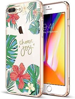 Apple iPhone 8 Plus/iPhone 7 Plus ESR Thicket Series Clear Aquarelle Print Design Case with Flexible TPU Bumper - Rose of ...