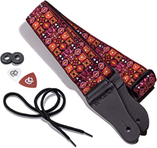 KLIQ Music Gear Vintage Woven Guitar Strap For Acoustic And Electric Guitars | '60S Jacquard Weave Hootenanny Style | 2 Ru...