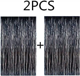 Blukey 2pcs 3.1ft x 8.2ft Black Metallic Tinsel Foil Fringe Curtain
