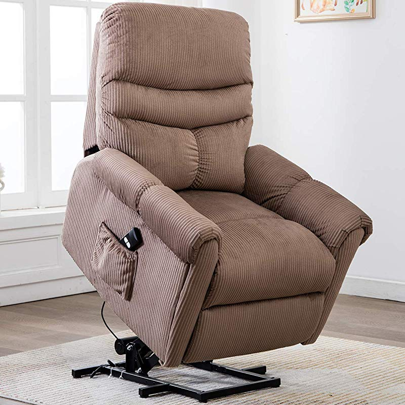 Bonzy Home Electric Power Lift Recliner Chair Sofa For Elderly Living Room Chair With Overstuffed Design Power Lift Chair With Safety Motion Reclining Mechanism Beige