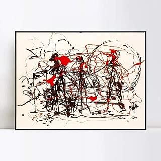 INVIN ART Framed Canvas Giclee Print Art Abstract Series#6 by Jackson Pollock Wall Art(24