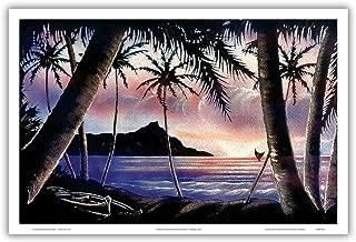 Pacifica Island Art Sunrise Over Diamond Head - Vintage Hawaiian Black Velvet Art by Frank Oda (Hale Pua Studio) c.1940s - Hawaiian Master Art Print - 12 x 18in