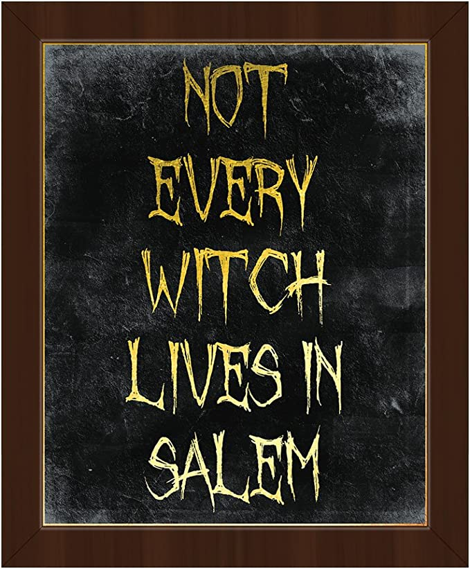 Picture Wall Art Not Every Witch Lives In Salem White Frame Wiccan Quote Saying In Yellow On Black For Halloween On Canvas With Espresso Frame Posters Prints Amazon Com