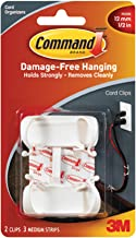 3M Large Cord Clips with Command Adhesive, 2 Cord Clips, 3 Medium Strips