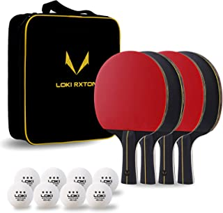 LOKI RXTON Ping Pong Paddles Set, 4-Player Table Tennis Rackets with 8 3-Star Balls, Portable Storage Case, Advanced Spin,...
