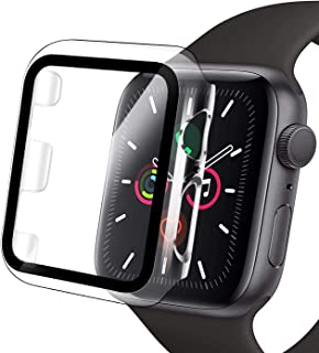 Compatible Apple Watch Case 40mm with Screen Protector Series 6/SE/5/4, Clear Hard PC Bumper Case + 9H Bulletproof Glass S...