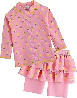 2T-7T Kids Girls UPF 50+ UV Protection Rashguard Swimsuit Long Shirt and Shorts Set