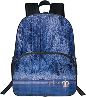 Oobon Kids Toddler School Waterproof 3D Cartoon Backpack, Swans Swims Lake Dusk Forest Dramatic Idyllic Nature Icy Snowy Weather Rural Scene, Fits 14 Inch Laptop