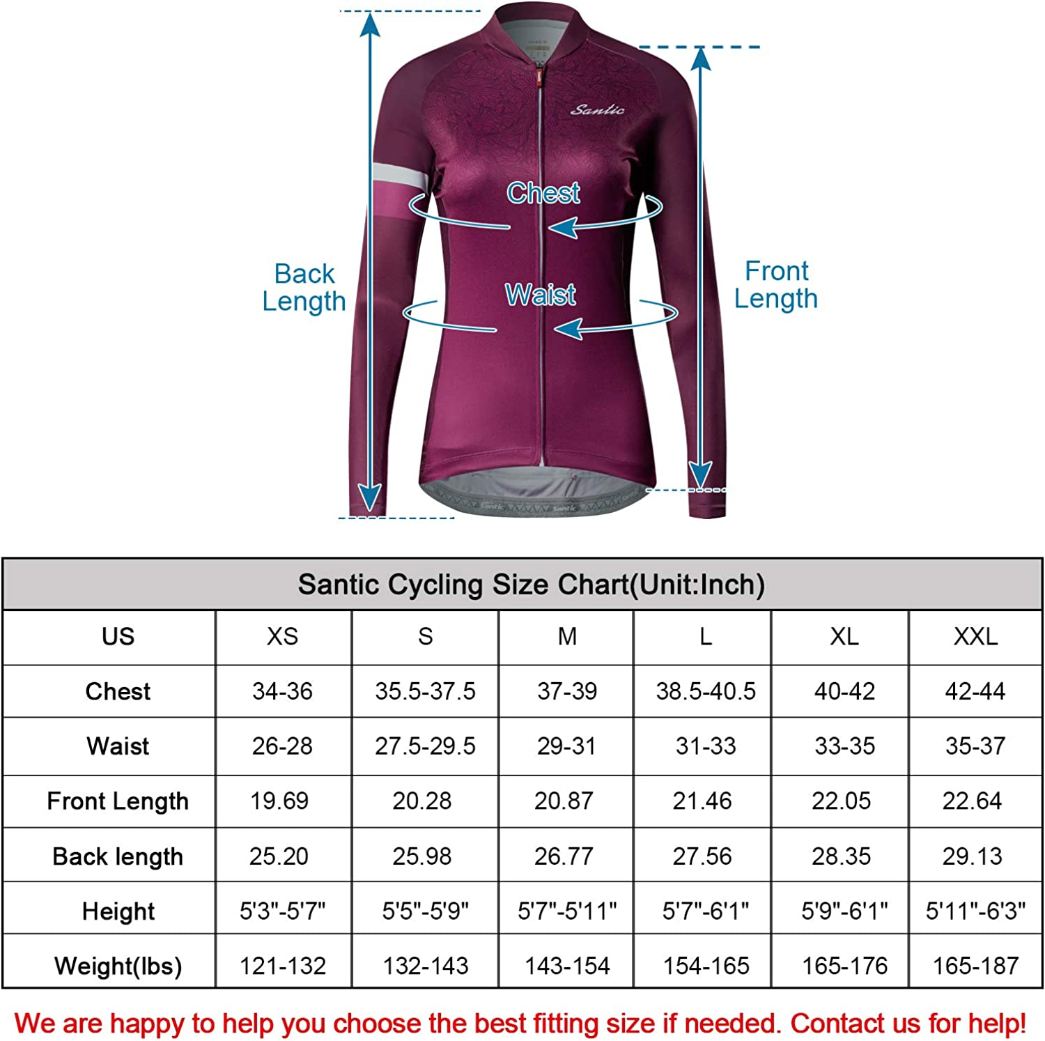 Santic Cycling Jersey Womens Long Sleeve Tops Bike Shirts Bicycle Jacket with Pockets