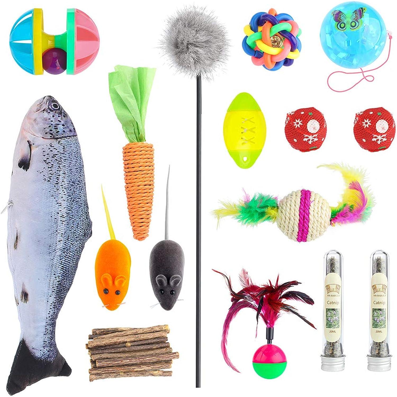 MRBABULA Cat Toys, 30 Toy Set, Bell Balls,Catnip Fish, Silver Vine Sticks,Feather Sticks, Mice, Etc.