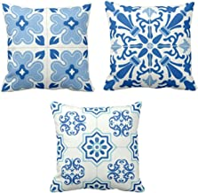 YaYa cafe Canvas Cotton Attractively Indigo Tie Printed Cushion Covers for Home Sofa (Blue, 24 x 24 inches) - Set of 3