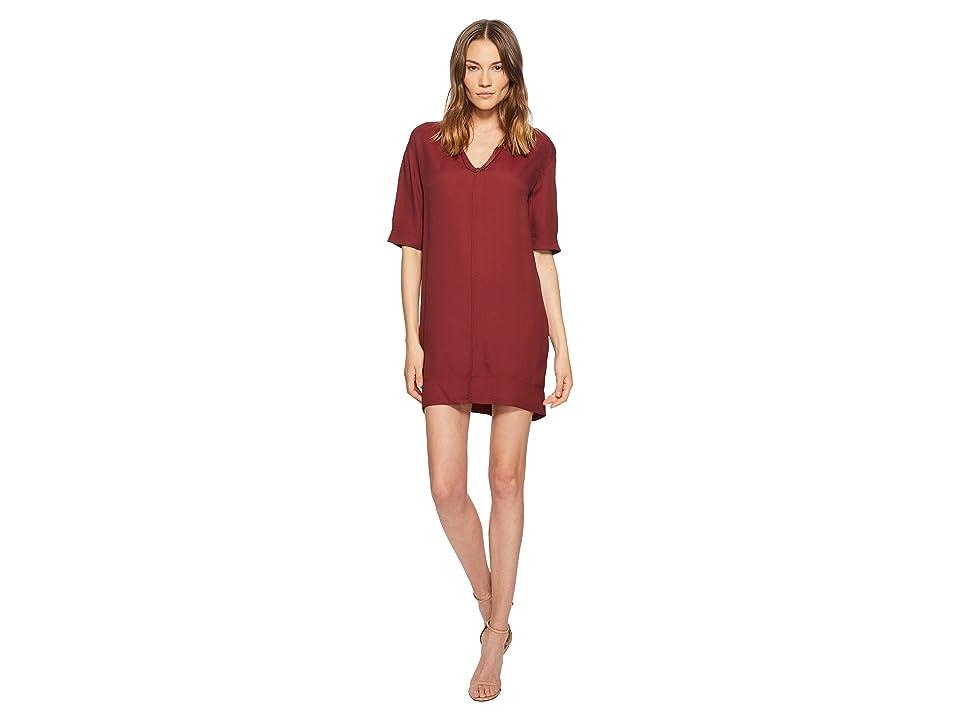 Manila Grace Short Sleeve V-Neck Dress (Red) Women