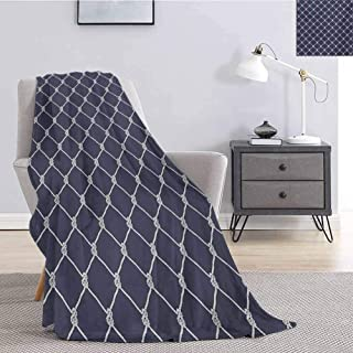 Luoiaax Navy Blue Rugged or Durable Camping Blanket Navy Sea Yacht Theme Cool Classic Vessel Design in Vertical Rope Artwork Warm and Washable W70 x L70 Inch Dark Blue and White