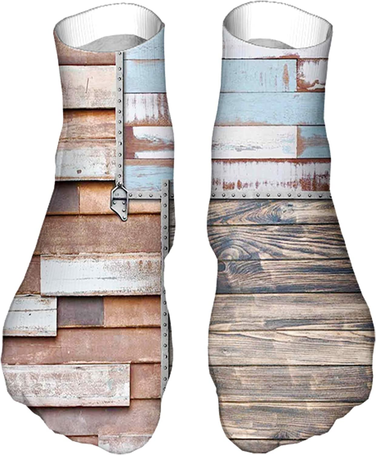 Men's and Women's Fun Socks Printed Cool Novelty Funny Socks,Modern and Farm Themed Old Wooden Detailed Modern Design