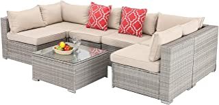 Furnimy 7PCS Outdoor Indoor Patio Furniture Sets Cushioned Sectional Conversation Sofa Sets Gray Rattan Wicker with Tempered Glass Coffee Table for Garden Backyard Poolside (Gray-Gray Brown)