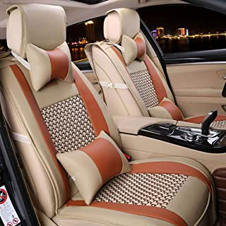 FREESOO Car Seat Cover Cushions PU Leather, Front Rear Full Set Car Seat Covers for 5 Seats Vehicle Suitable for Year Round Use