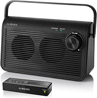Wireless TV Speakers for Hearing Impaired, ALBOHES Portable TV Soundbox, TV Audio Speakers for Seniors Hearing Assistance Works with Headphone, Digital Optical Fiber 3.5mm Jack