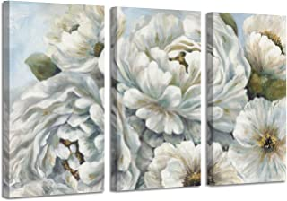 Abstract Peony Flowers Wall Picture: White Blossom Floral Artwork Canvas Wall Art for Living Room Bedrooms (16''X26''x3panels)