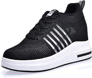 f067d8143b4 AONEGOLD® Zapatillas de Cuña para Mujer Zapatillas de Deporte Zapatillas  Altas Tacón Cuña 7.5CM