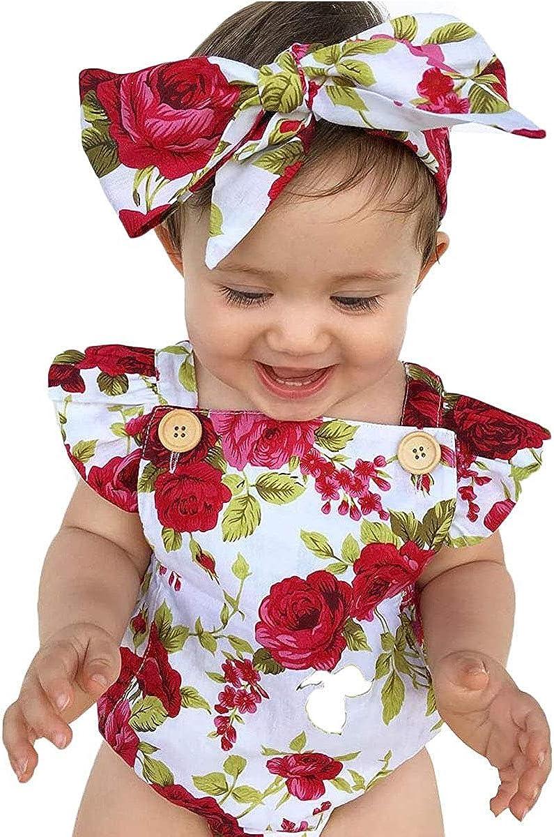 mit Stirnband Geagodelia Baby-Strampler f/ür M/ädchen mit Blumenmuster