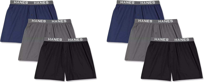 Hanes Men's Knit Boxers 6-Pack Cotton Modal Blend Premium Luxury Softness Comfortblend