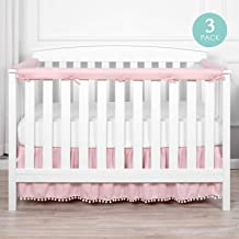 TILLYOU 3-Piece Padded Baby Crib Rail Cover Protector Set from Chewing, Safe Teething Guard Wrap for Standard Cribs, 100% Silky Soft Microfiber Polyester, Fits Side and Front Rails, Pink