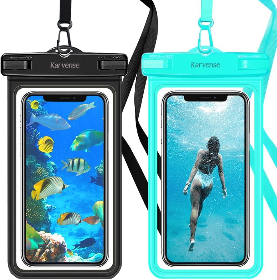 Waterproof Phone Case, Karverse Waterproof Phone Pouch/Bag/Holder for iPhone, Samsung Galaxy, Moto, Pixel, up to 7-inch. Shower Phone Holder Waterproof, Cell Phone Dry Bag for Beach Kayaking -2 Pack