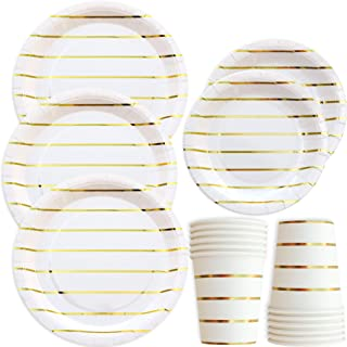 Gold Striped Disposable Paper Plates and Cups Set for 50 Guests; Gold Metallic Foil 50 Dinner Plates, 50 Dessert Plates, and 50 9 oz Cups Party Plates for Bridal Baby Shower Wedding Anniversary