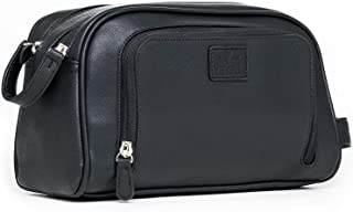 Vetelli Gio Leather Toiletry Bag for Men - Dopp Kit - Handmade for Travelling Vacations and Adventures (Black)