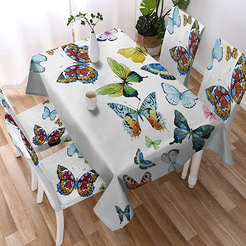 Sleepwish Hippie Butterfly Tablecloth Flying Butterfly Collection Washable Table Cover Decorative Table Cloth Square 55 X 55Inch