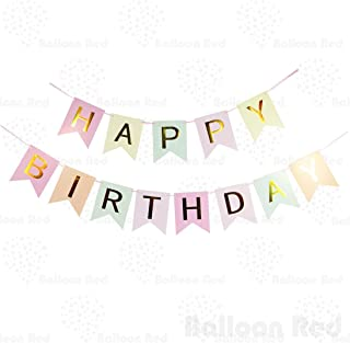Happy Birthday Garland Bunting Banner for Party Wall Stylish Decorations, Pastel Color Bunting with Golden Letters