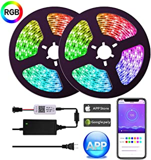 UMICKOO Dream Color LED Strip Lights with APP,10m/32.8ft Waterproof Strip Lights with Built-in Digital IC,300 LEDs SMD 5050 Flexible LED Lights for Home Kitchen Christmas