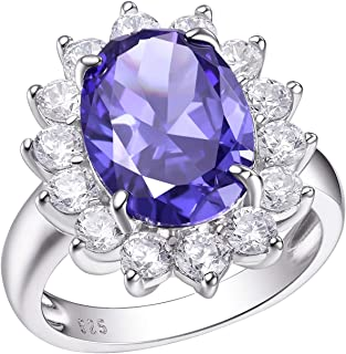 Wuziwen 7Ct Blue Tanzanite Oval Engagement Rings for Women Sterling Silver Gemtone Statement Ring