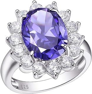 Wuziwen 7Ct الأزرق تنزانيت خاتم الخطوبة البيضاوي للنساء الفضة الاسترليني الأحجار الكريمة بيان الدائري