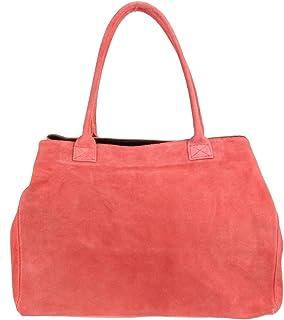 Girly Handbags Bolso de cuero de gamuza italiana expandible