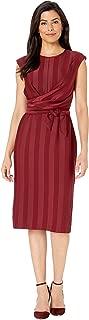 Women's Matte Shine Stripe Faux Wrap Sheath Dress
