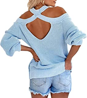 Byinns Women's Off-Shoulder Halterneck Pullover Sweaters Sexy Loose Solid Color Long Sleeve Backless Knitted Tops Blue