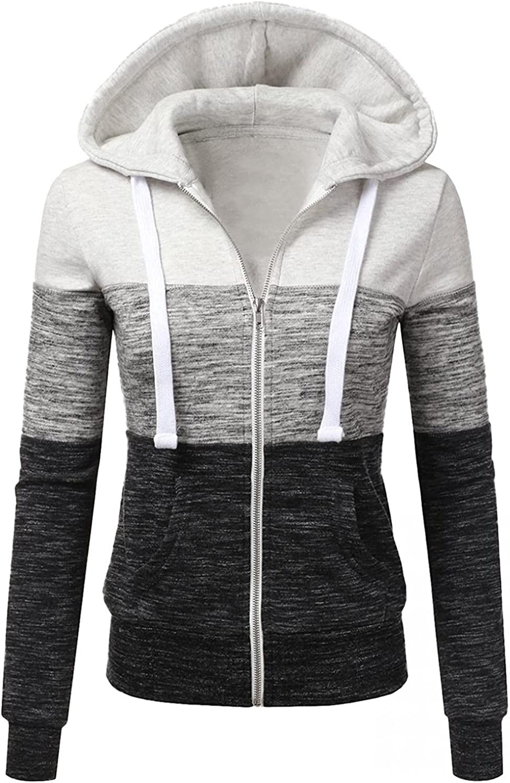COMVALUE Womens Hoodies,Zip Up Long Sleeve Fall Sweatshirts Color Block Pocket Casual Drawstring Jacket