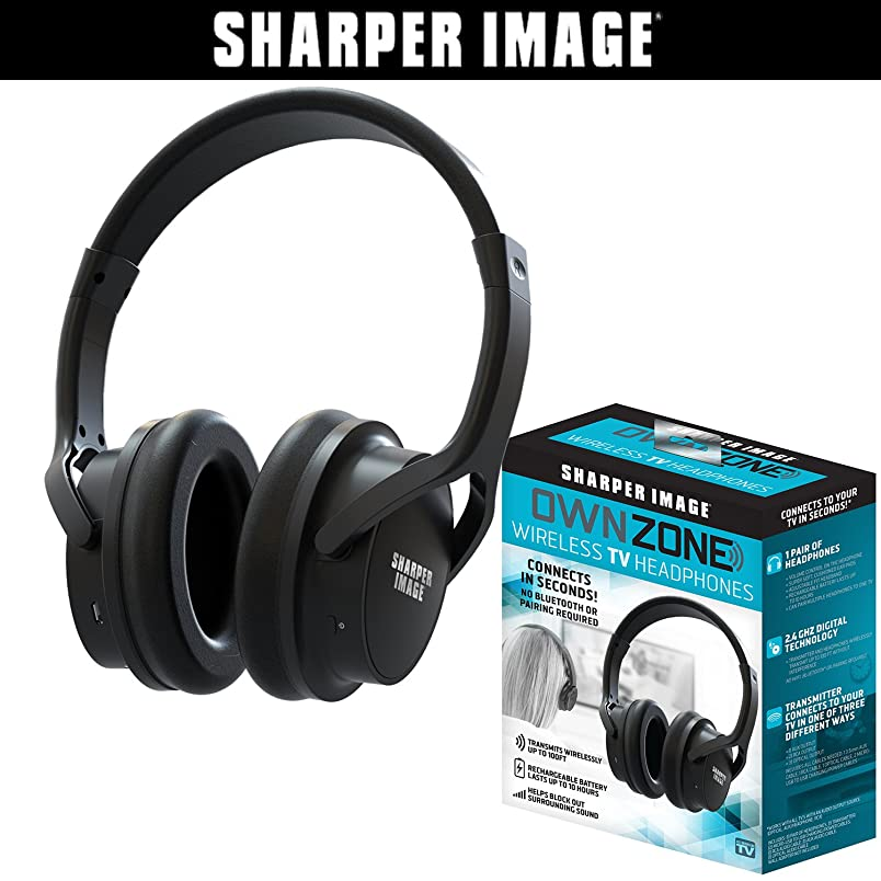 Sharper Image OWN ZONE Wireless Rechargeable TV Headphones- RF Connection, 2.4 GHz, Transmits Wirelessly up to 100ft, No Bluetooth Required, AUX, RCA, & Optical Cable Included (Black) dd607078616