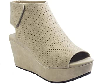 Women's Natural-2 Backless Slip-On Chunky Stacked Heel Fashion Mule Bootie