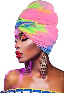 وشاح رأس مصبوغ من L'VOW بعمامة قابلة للتمدد لتغطية الرأس وشاح الشعر للنساء (صبغة قوس قزح)