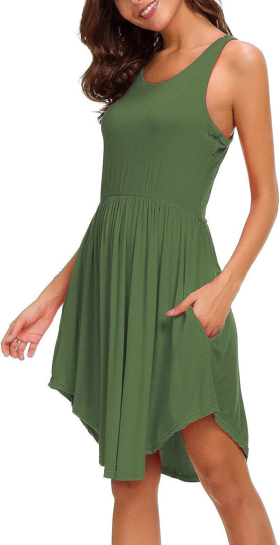 CROSS1946 Women's Racerback Pleated Sundress Elastic Waist Flowy Curved Hem TShirt Dress Pockets
