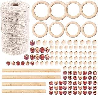 koitoy 133 pcs Makramee Set Natürliches Baumwollkordel 3mm x 200m - Makramee Garn mit 120pcs Holzperlen,8pcs Holzring und Holzdübelstangen für Wandbehänge, Pflanzenbügel, DIY und Weihnachtsdekoration