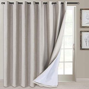 100% Blackout Patio Door Curtain Extra Wide Curtain Panels Sliding Glass Door Curtain Linen Textured Look Grommet Blackout Curtains 84 Inch Length, 100