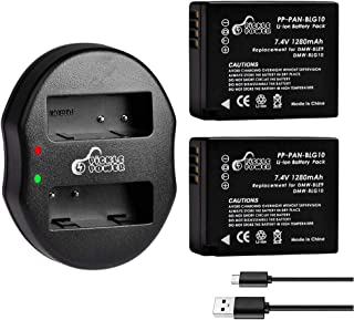 Replacement for DMW-BLG10PP Battery, Pickle Power 2 Pcs Panasonic Lumix DMW-BLG10, DMW-BLE9 Batteries and Dual Slots USB Charger for DC-ZS80, DC-GX9, DC-LX100 II, DC-ZS200, DC-ZS70+ (1280mAh, 7.4V)