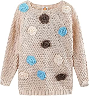 3434900fe778 LittleSpring Girls Knitted Sweater with Flower Appilque 3-7 Years